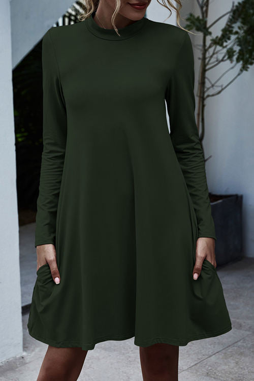 Solid Color Long Sleeve Stand Collar Pocket Dress