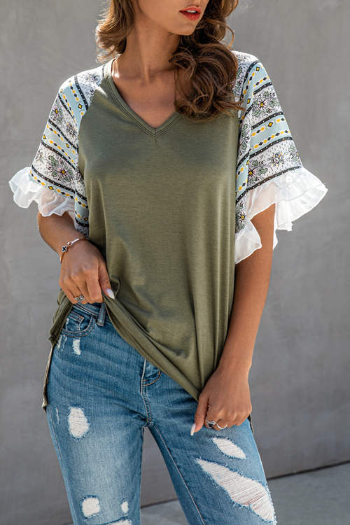 Fashion Pattern Stitching Chiffon Ruffled  T-Shirt