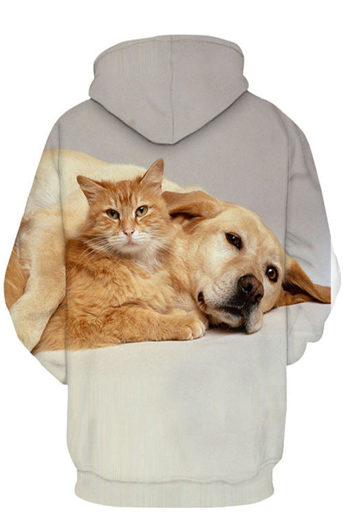 3D Digital Printing Pet Cat And Dog Pocket Long Sleeve Hoodie