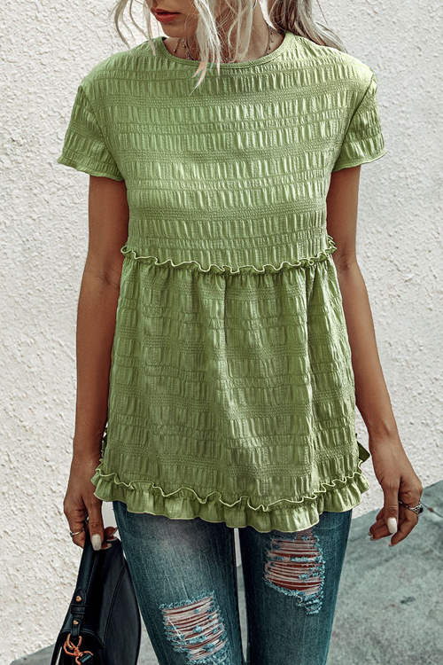 Round Neck Fungus Pleated T-Shirt