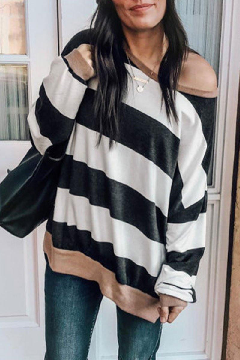 Casual O Neck Striped Long Sleeve T-Shirt