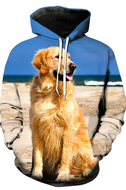 Unisex 3D Graphic Hoodies  Animals Dogs Golden Retriever Beach