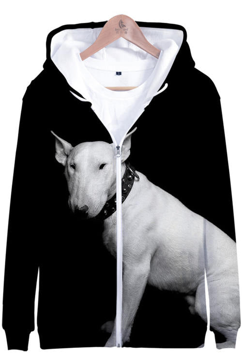 3D Graphic Hoodies  Zipper Animals Dogs Dogo Argentino