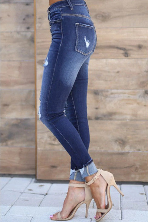 Button Fly Design Dark Blue Jeans