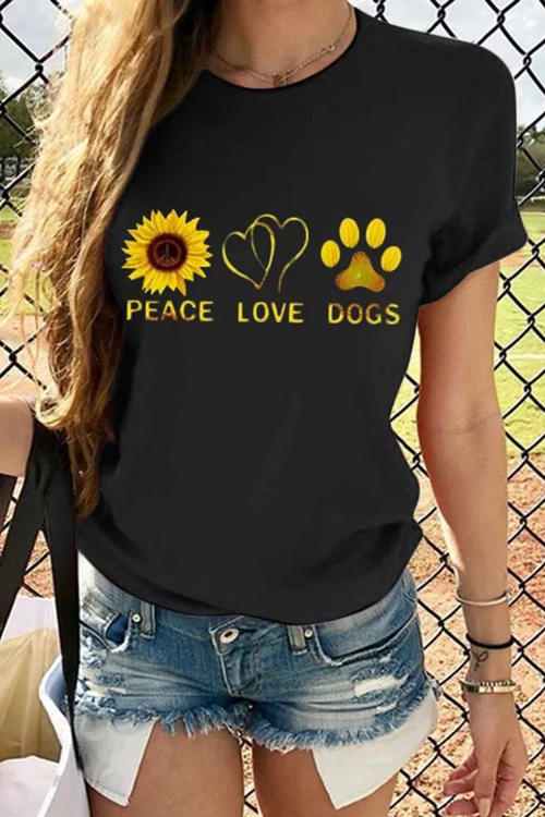 Color Print Peace Love Dogs