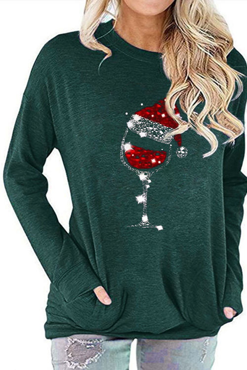 Red Wine Glass Christmas Hat Print Round Neck Bat Long Sleeve T-Shirt
