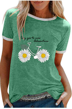 Small Daisy Print Patchwork T-Shirt