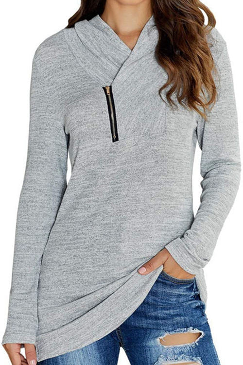 Solid Color Long-Sleeved Micro-Neck Zippered T-Shirt
