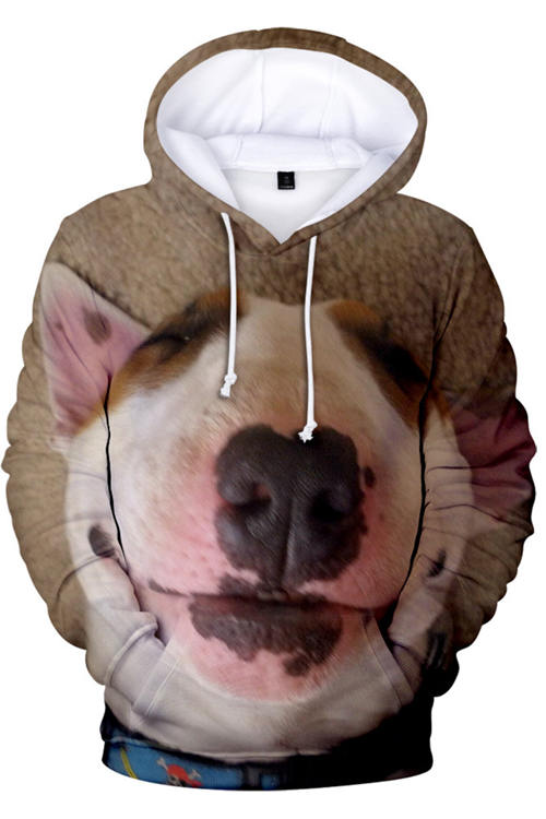 3D Graphic Hoodies Sweatshirts  Animals Dogs Bull Terrier Sleep