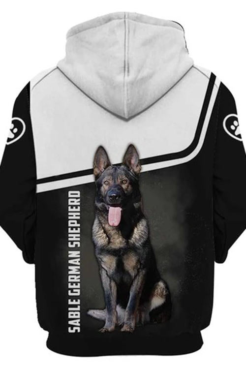 3D Graphic Hoodies  Animals Dogs Sable German Shepherd Dog