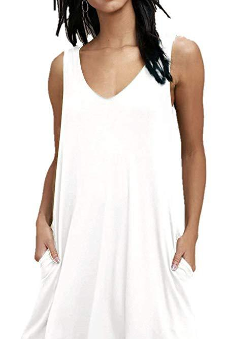 Sleeveless Vest Pocket Dress