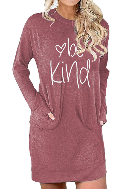 Be Kind Letter Print Loose Pocket Dress