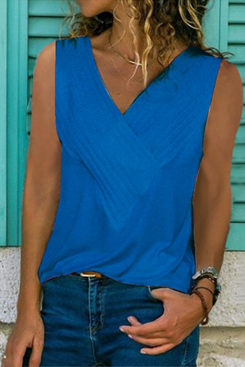 V Neck Solid Tank Top