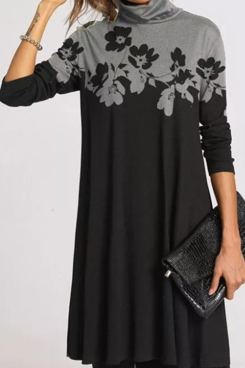 Printed High Neck Long Sleeve Dress