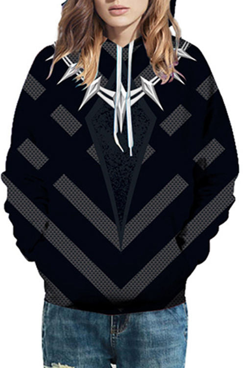 3D Digital Printing Punk chain embellished Hoodie