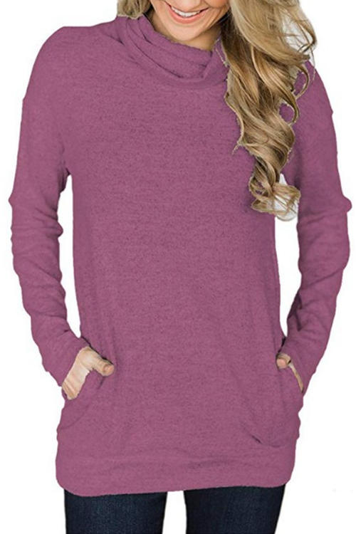 Solid Color Pile Collar Pocket Slim T-Shirt