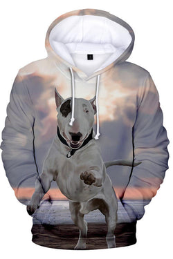 3D Graphic Hoodies Sweatshirts  Animals Dogs Bull Terrier
