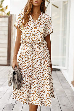 Polka Dot Short-Sleeved Dress