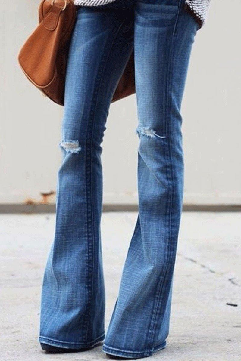 Fashion Broken Holes Flare Jeans