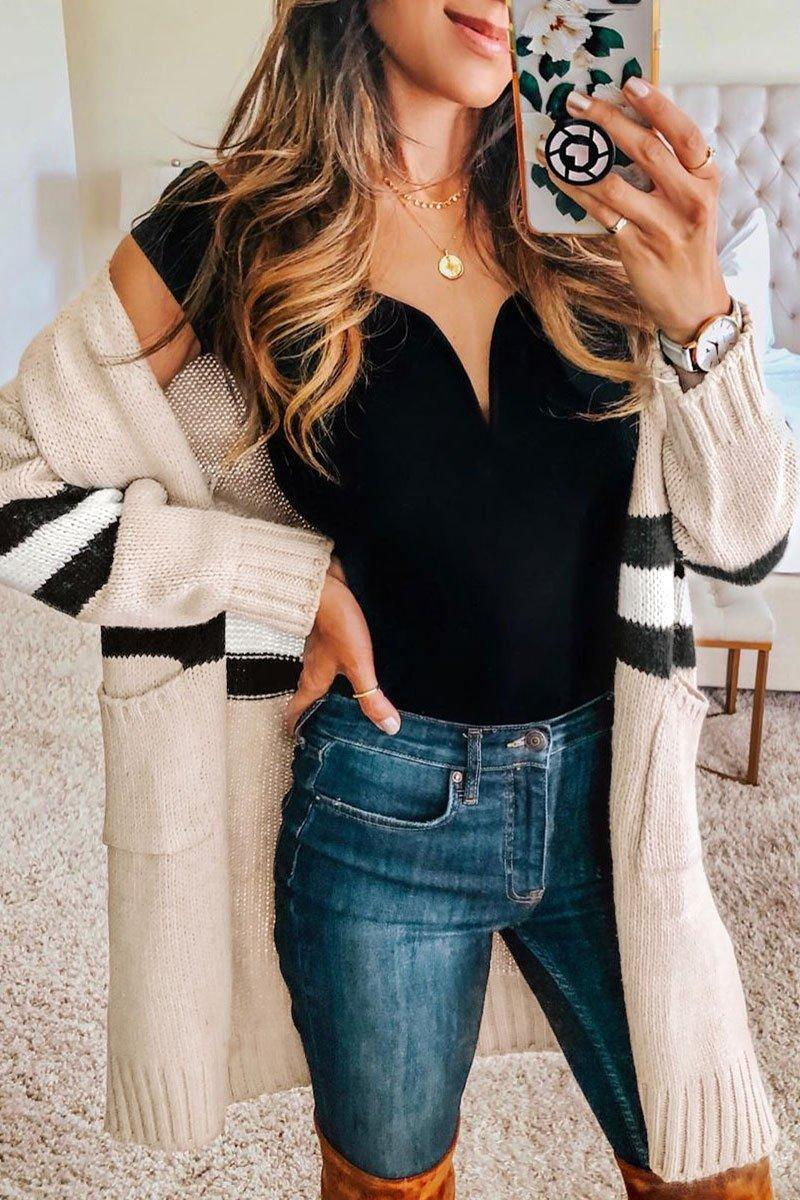 Casual Striped Open Front Cardigan