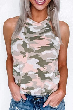 Camo Shirt Sleeveless Halter Tank Top