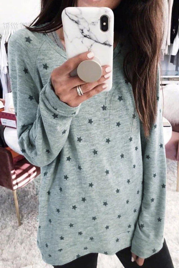Casual Star Printed Long Sleeve T-shirt