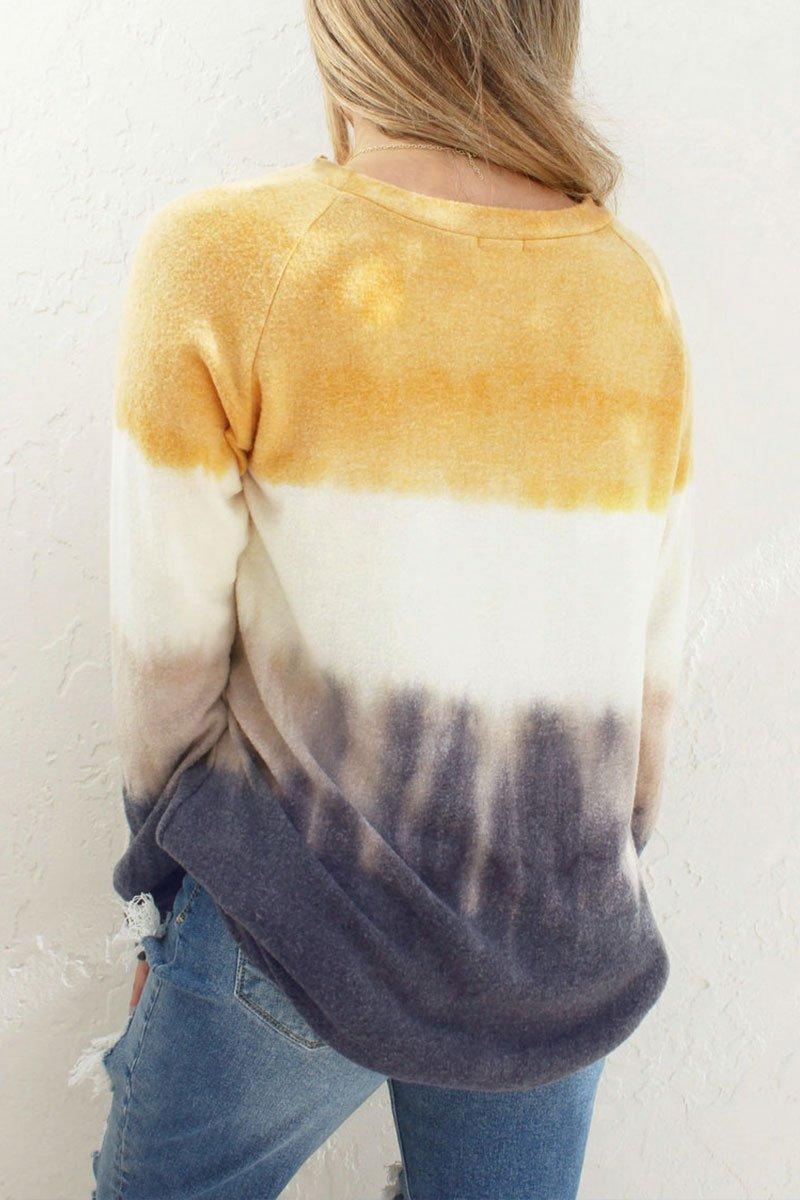O Neck Printed Yellow Sweatshirt