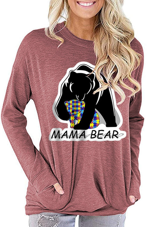MAMA BEAR Letter Print Loose Round Neck Long Sleeve T-Shirt