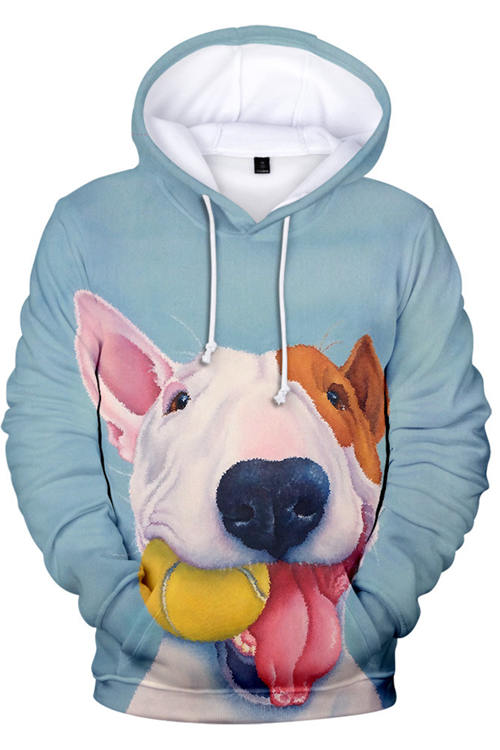 3D Graphic Hoodies Sweatshirts  Animals Dogs Bull Terrier Cartoon Play