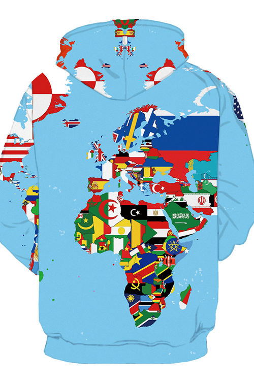 3D Digital Print Colour Map of the World Hoodie