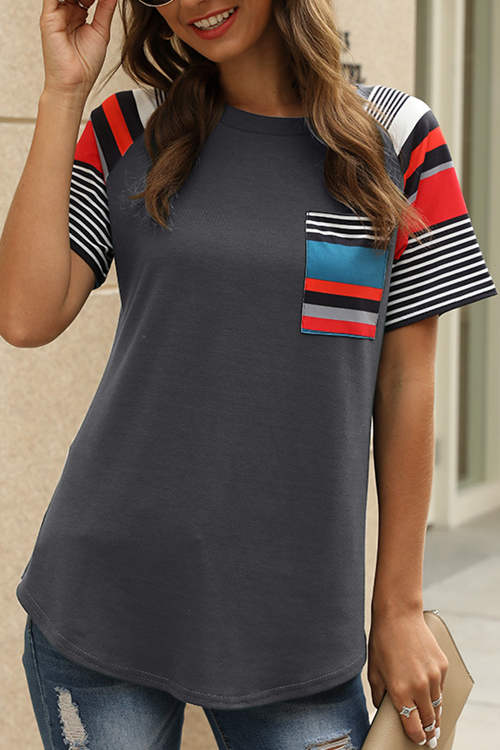 Striped Printed Patchwork T-Shirt