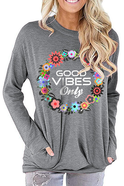 GOOD VIBES Letter Print Loose Round Neck Long Sleeve T-Shirt