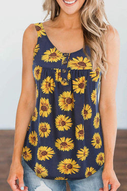 Sunflower Print  Sleeveless Buttons Tank Top