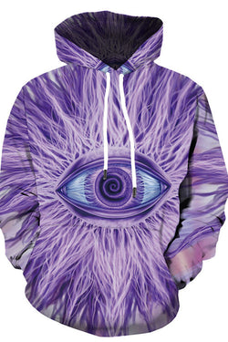 3D Digital Print Purple Pupil Hoodie