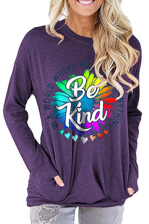 BE KIND Letter Print Loose Round Neck Long Sleeve T-Shirt