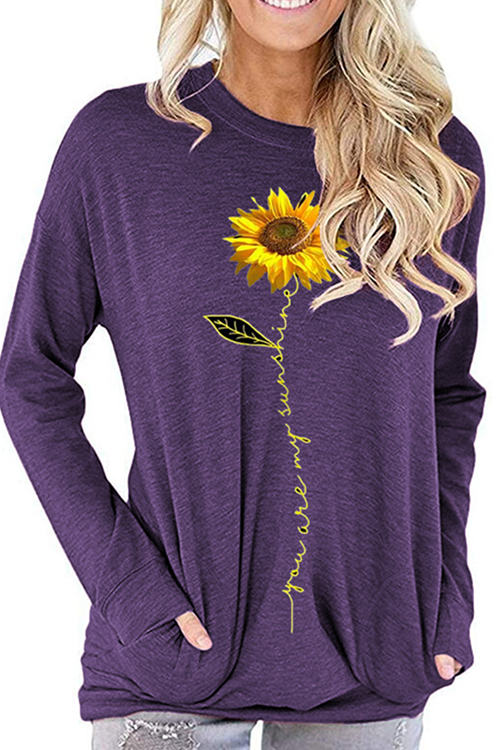 Sunflower Print Loose Long Sleeve T-Shirt