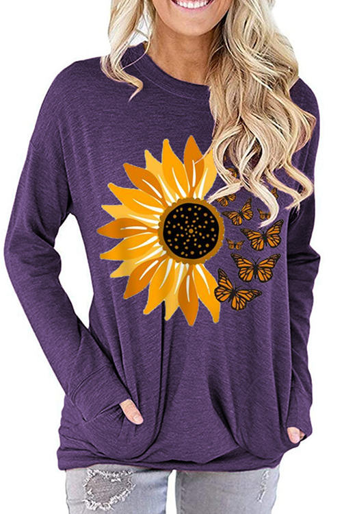 Sunflower Print Loose Round Neck Long Sleeve T-Shirt