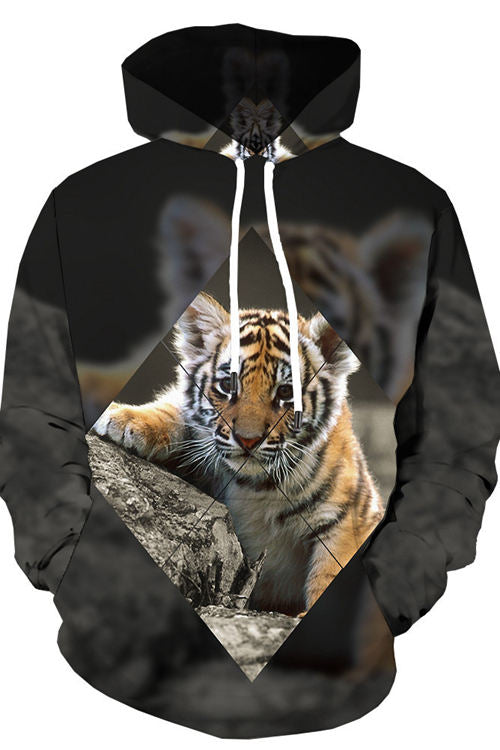 3D Digital Print Cute Little Tiger Hoodie