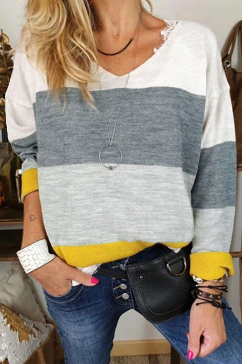 Color-lump Patchwork Gray T-shirt