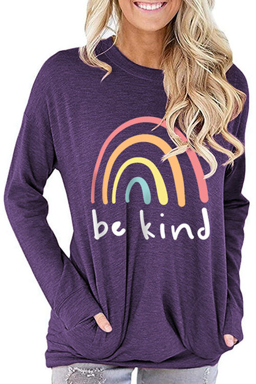 BE KIND Print Loose Long Sleeve T-Shirt