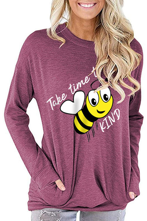 Bee Letter Print Loose Long Sleeve T-Shirt