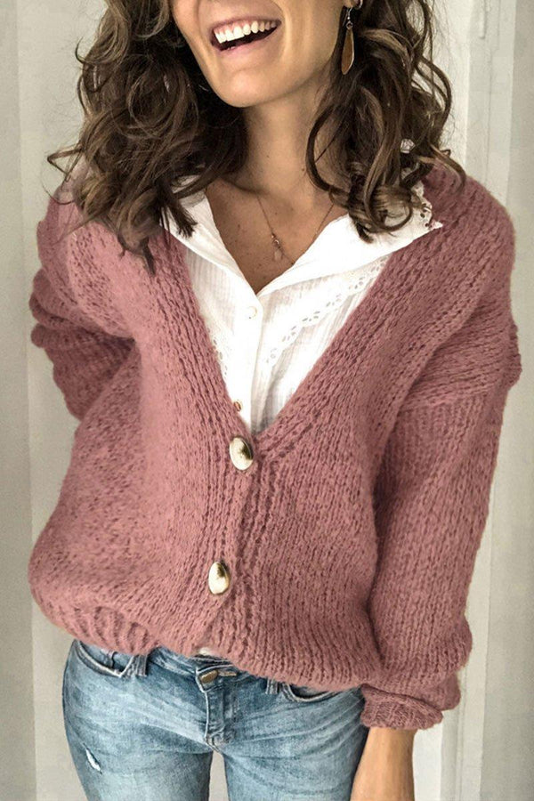 Button Design Dusty Pink Cardigan