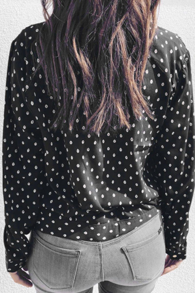 Floral Dot Printed Black Shirt