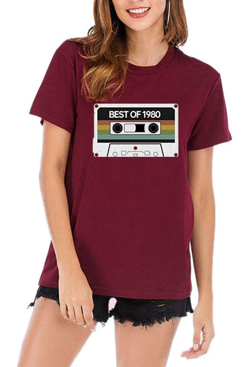 BEST OF 1980  Letter Printed T-Shirt