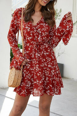 Floral Red Knee Length Mini Dress