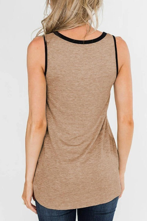 Patchwork Khaki Tank Top(6 Colors)