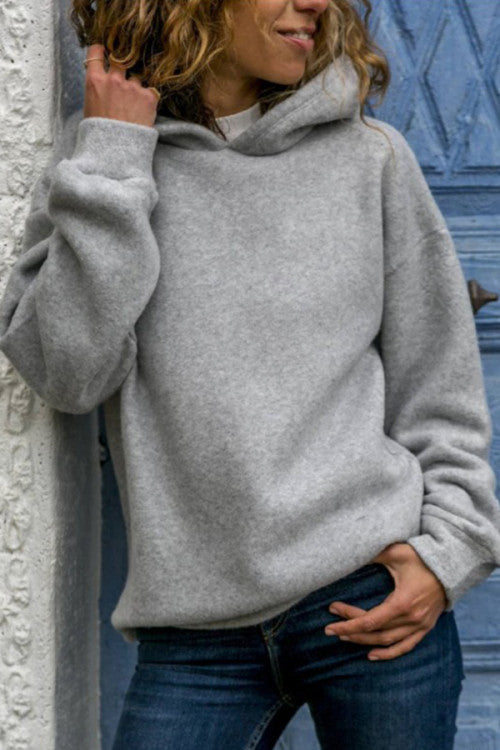 Fleece Hooded Loose Hoodie