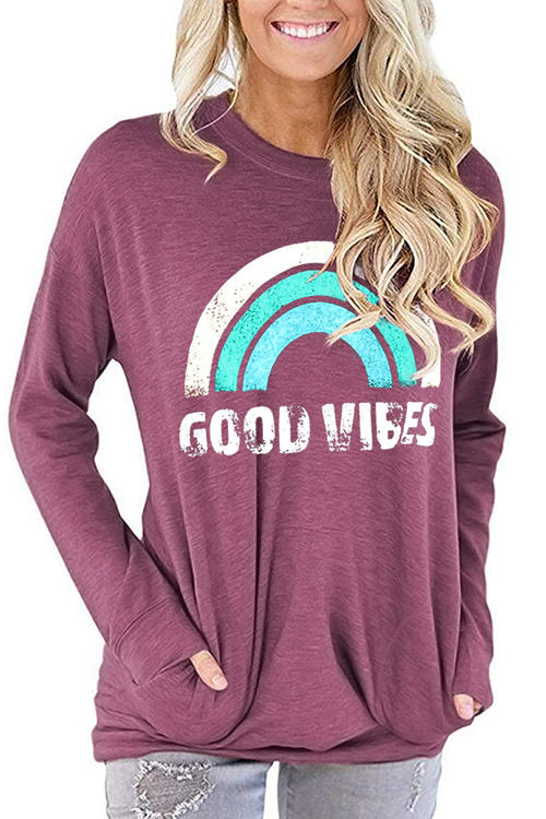 GOOD VIBES Print Long Sleeve T-Shirt