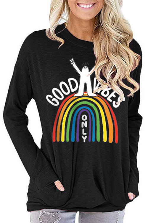 GOOD VIBES Print Loose Long Sleeve T-Shirt