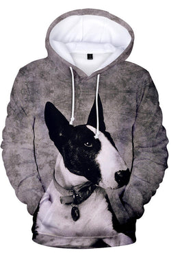 3D Graphic Hoodies Sweatshirts  Animals Dogs Serious ox Head Terrier